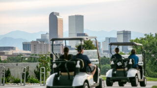 Poor air equality in Denver, most recently brought about by drifting  smoke from wildfires all over the West, obscures the mountains as seen from City Park Golf Course on Wednesday, July 14, 2021.