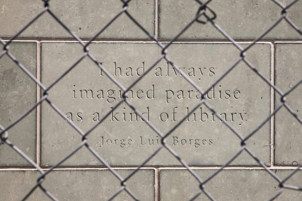 """""""I had always imagined paradise as a kind of library,"""" reads a quote from writer Jorge Luis Borges on one of the facade stones of the Denver Public Library's Central Library. The facility will reopen with limited access to the first floor, computer rooms, and social service facilities to the public on Sunday, July 16 after being closed first by the COVID-19 pandemic, and then owing to extensive renovations."""