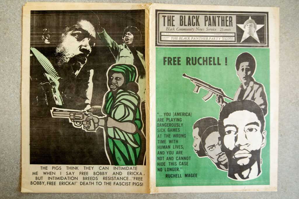 An issue of The Black Panther from Feb. 6, 1971, which was recently added to the Blair-Caldwell African American Research Library's collections. Photographed July 22, 2021.