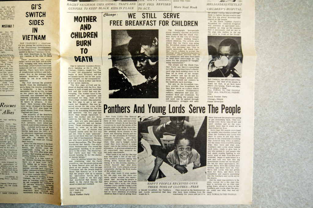 An issue of The Black Panther from Oct. 11, 1969, which was recently added to the Blair-Caldwell African American Research Library's collections. Photographed July 22, 2021.