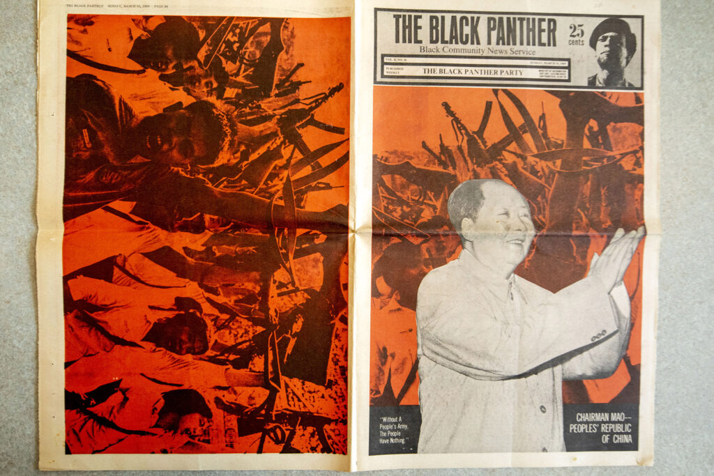 An issue of The Black Panther from March 16, 1969, which was recently added to the Blair-Caldwell African American Research Library's collections. Photographed July 22, 2021.