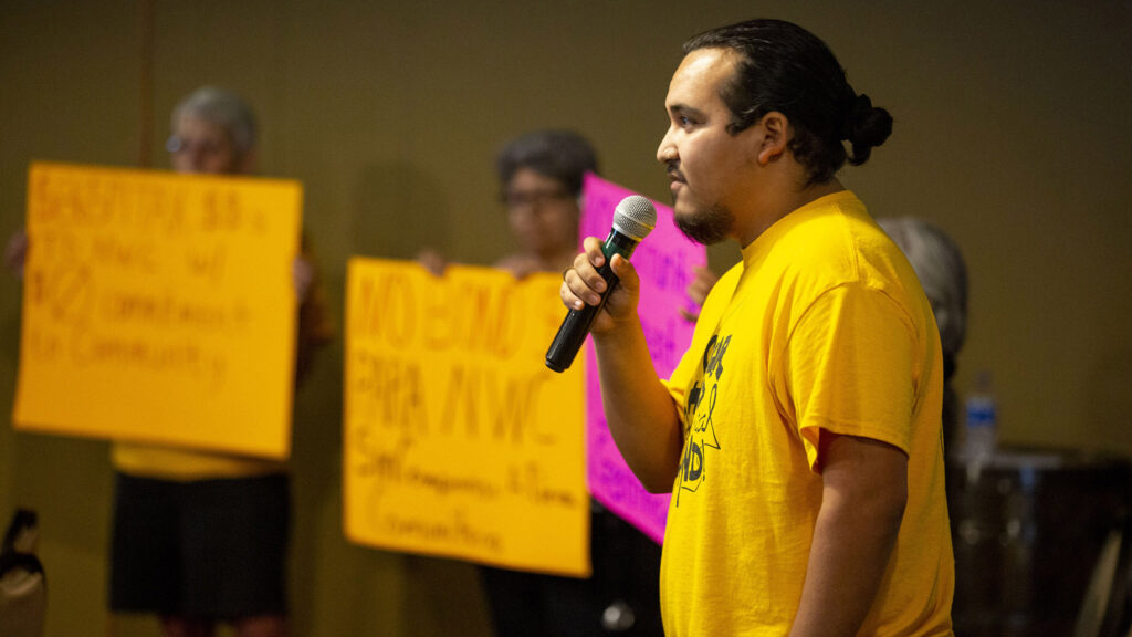 Community actiivst Poncho Espino speaks during a meeting of the National Western Center Citizens Advisory Committee in a NWC conference room in Elyria Swansea. July 22, 2021.