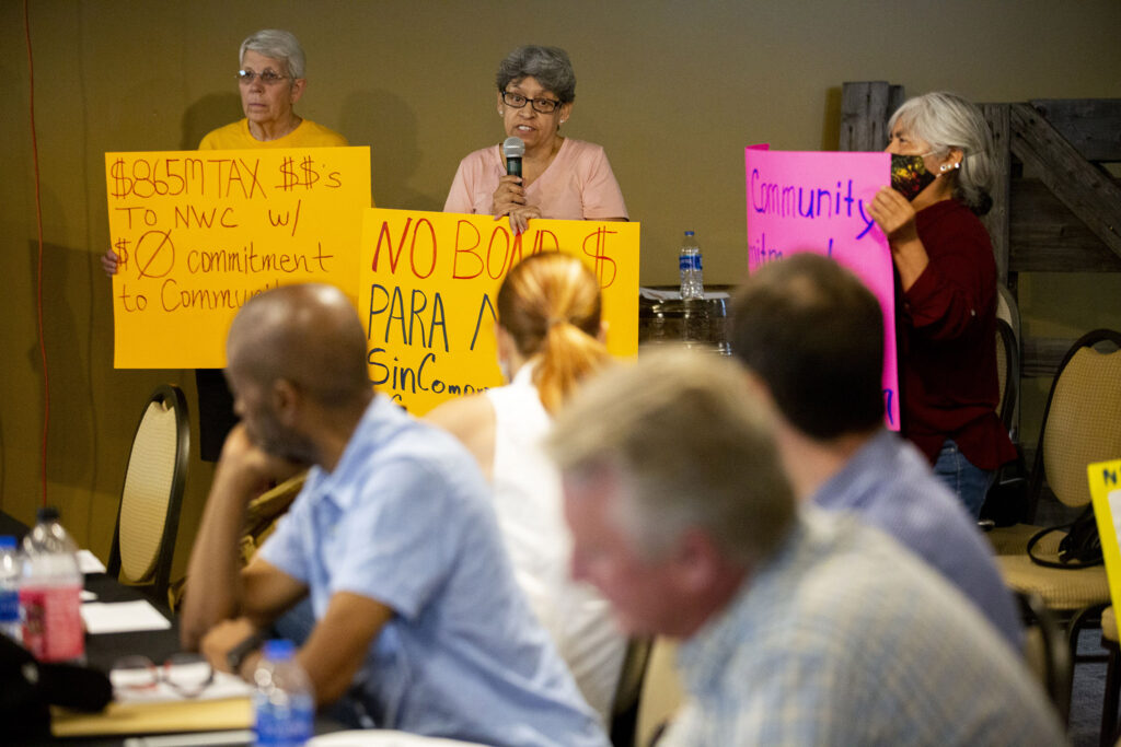 Community actiivst Maria De Luna Jimenez speaks during a meeting of the National Western Center Citizens Advisory Committee in a NWC conference room in Elyria Swansea. July 7, 2021.