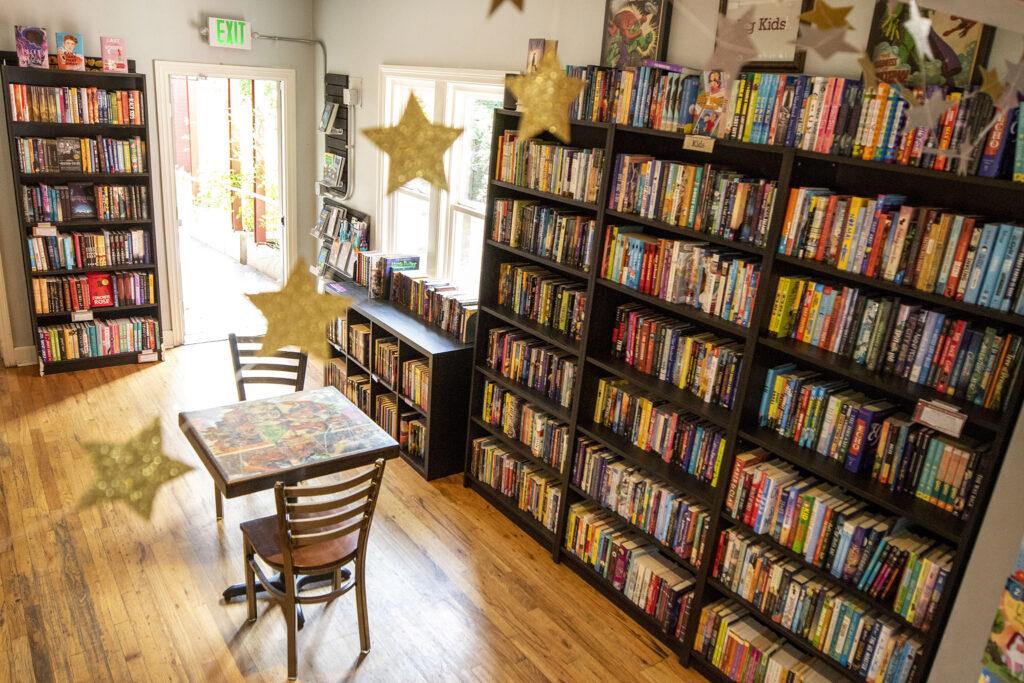 Kids books on shelves at Bookbar. Tennyson Street, July 24, 2021.