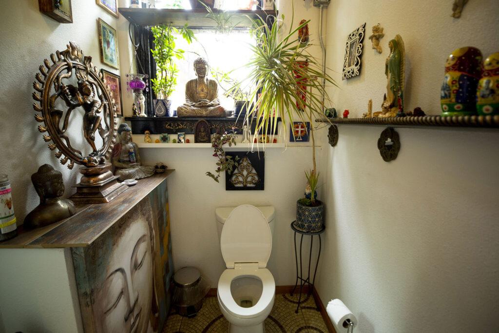 The bathroom at the Babooshka hair salon on East Colfax Avenue is a meditative sanctuary. July 24, 2021.