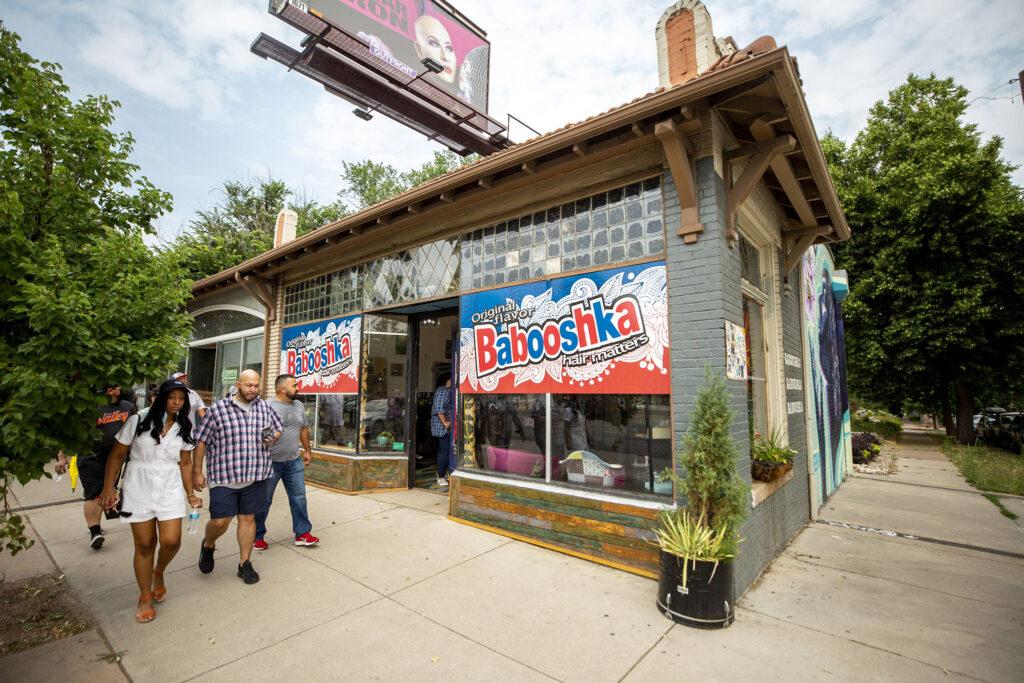 Cue Perez's Babooshka hair salon on East Colfax Avenue. July 24, 2021.