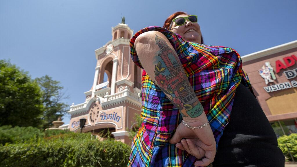 Zenna Garnett has a Casa Bonita tattoo on her arm. July 27, 2021.