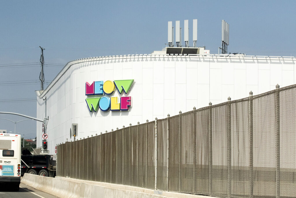 Meow Wolf's new building has a new sign. July 29, 2021.