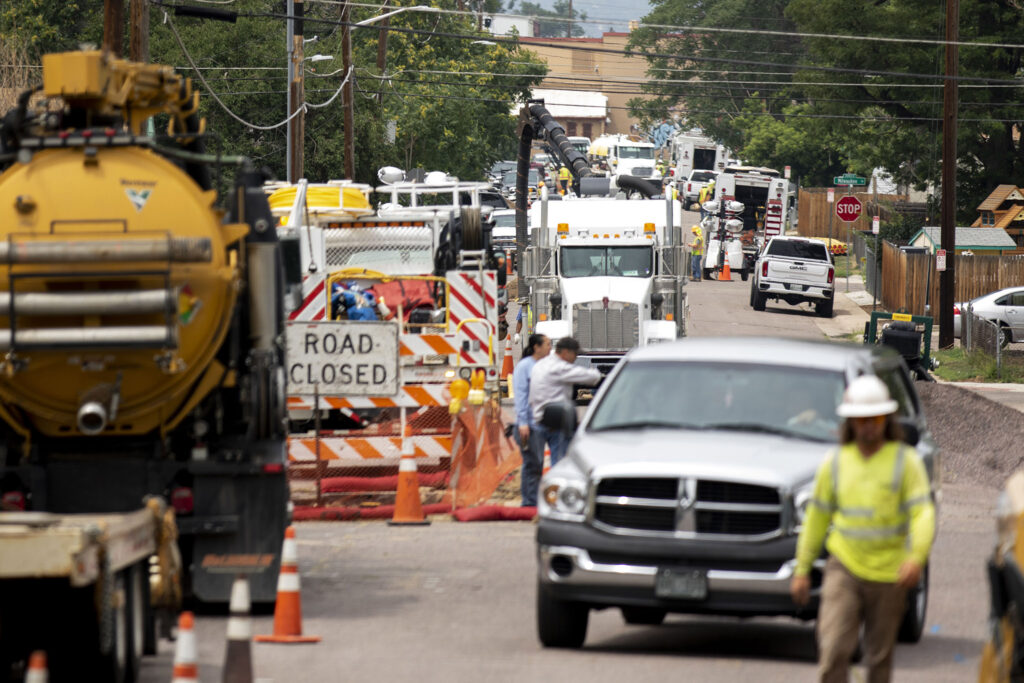 Xcel Energy crews are working overtime to replace tons of gas lines in Elyria Swansea. July 31, 2021.