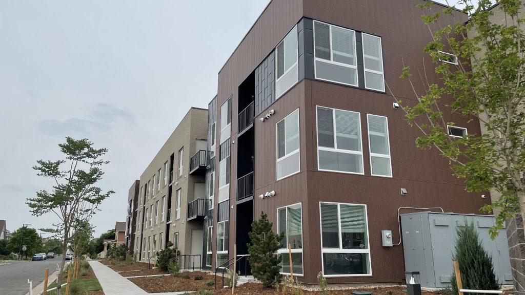 The new Central Park Urban Living Condos in northeast Denver on Wednesday, July 14, 2021. (Esteban L. Hernandez/Denverite)