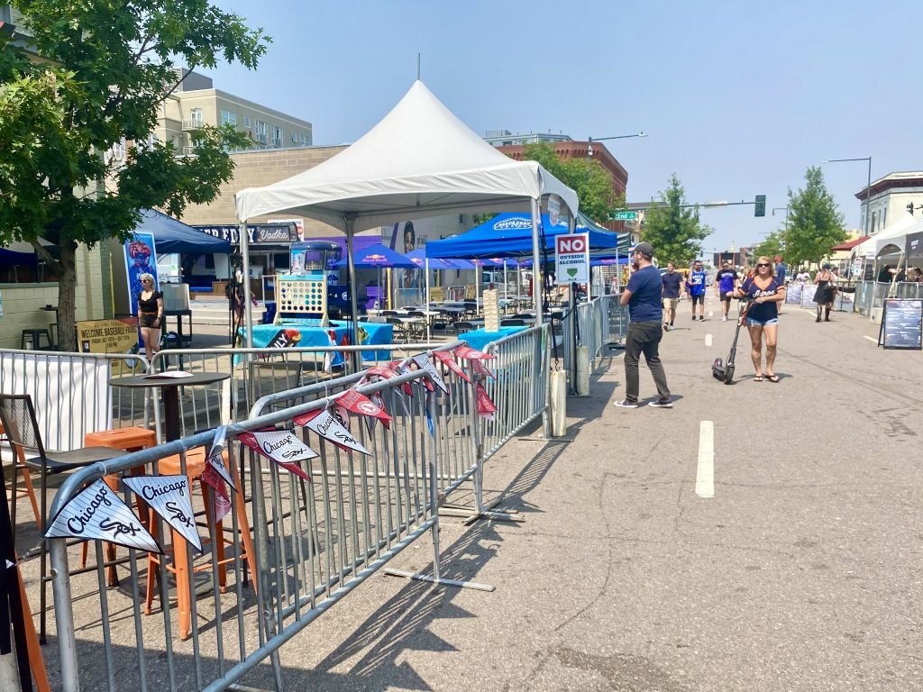 Expanded patios on Larimer for the Stars & Stripes Streetfest in Ballpark. July 12, 2021.