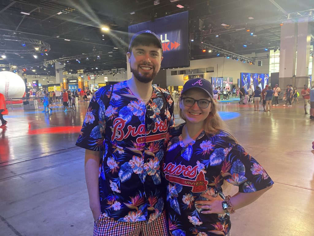 Tia and Trey Edmondson get beachy with their Braves' jerseys at the Colorado Convention Center in Denver on Tuesday, July 13, 2021.