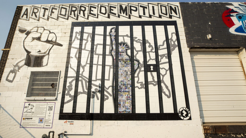 Art For Redemption unveils a new mural by incarcerated artists in the RiNo Art District off Brighton Boulevard. Aug. 5, 2021.