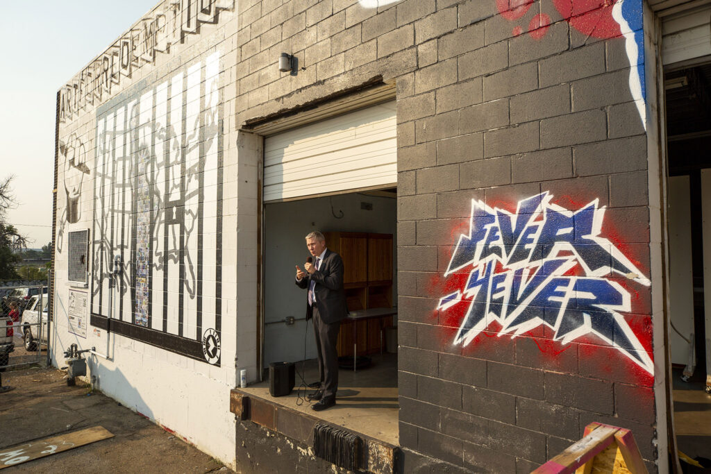Dean Williams, Colorado's executive director of corrections, speaks as Art For Redemption unveils a new mural by incarcerated artists in the RiNo Art District off Brighton Boulevard. Aug. 5, 2021.