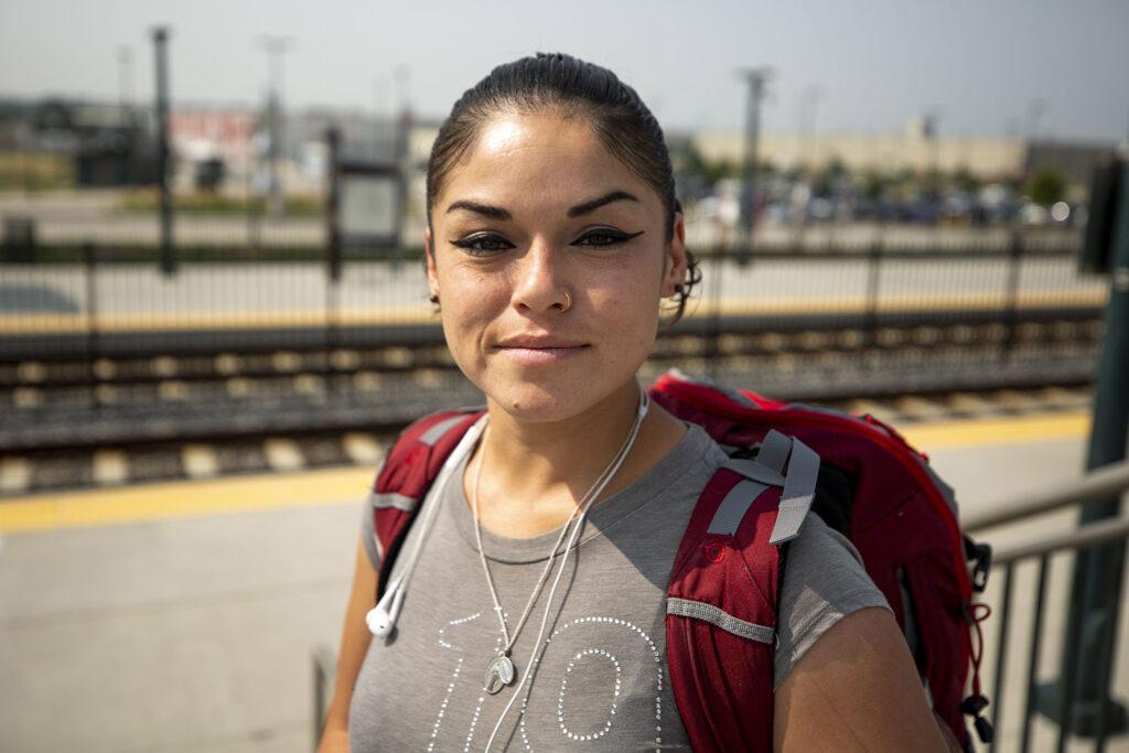 Amanda Alonzo just got off a train at RTD's Peoria Street station in Aurora. Aug. 10, 2021.