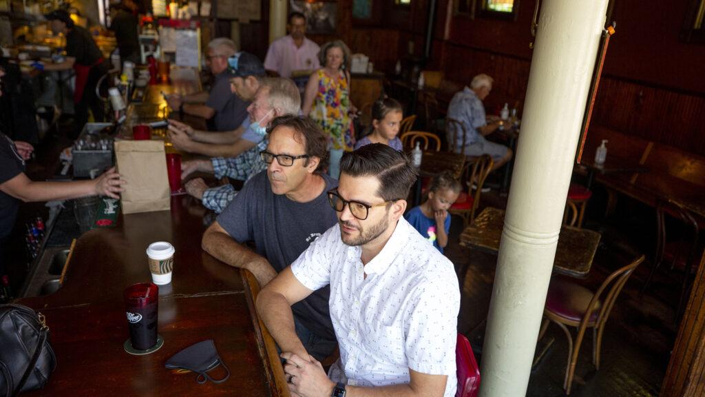 Danny (right) and David Newman hang at the bar at My Brother's Bar. Highland, Aug. 13, 2021.