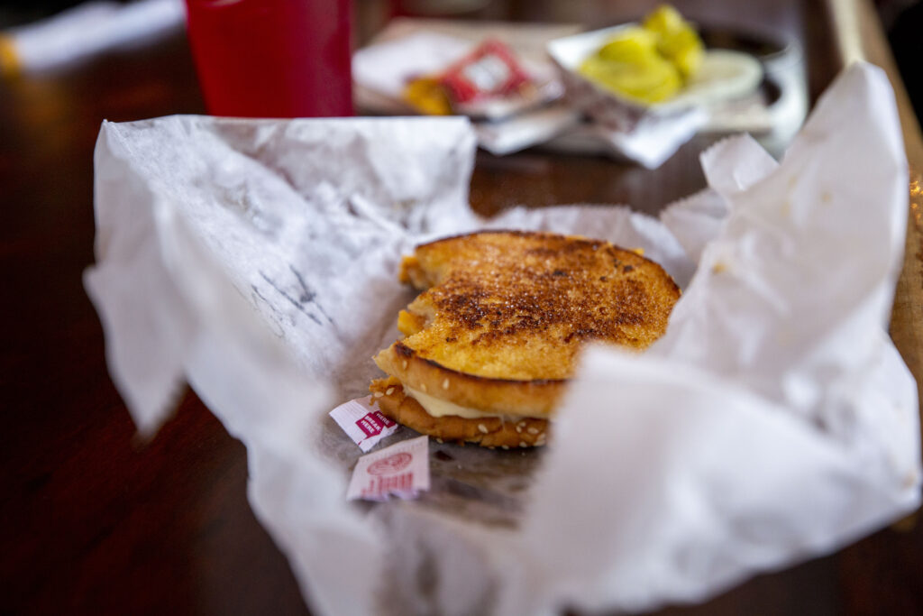 A grilled cheese on the bar at My Brother's Bar. Highland, Aug. 13, 2021.