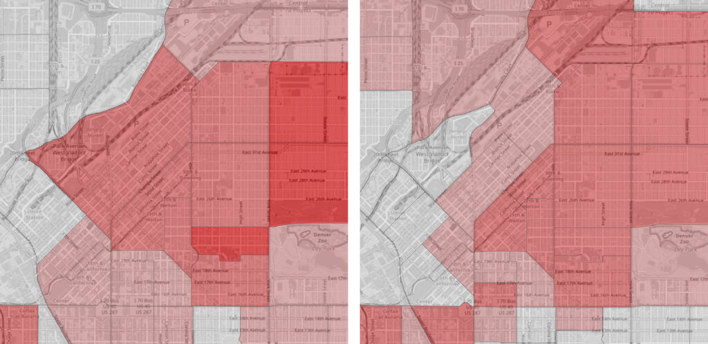 The neighborhoods of Five Points Clayton and Skyland saw decreases in people who identified as only black between 2010 (left) and 2020.