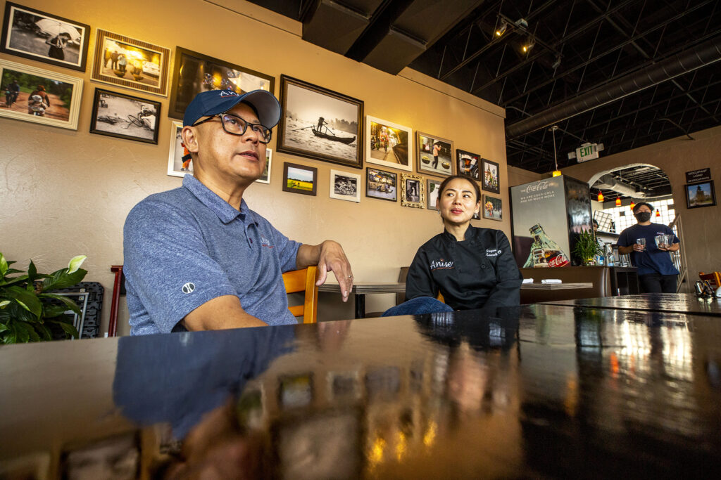 Anise owners Long Nguyen (left) and Quyen Trinh in their Lincoln Street restaurant. Aug. 17, 2021.