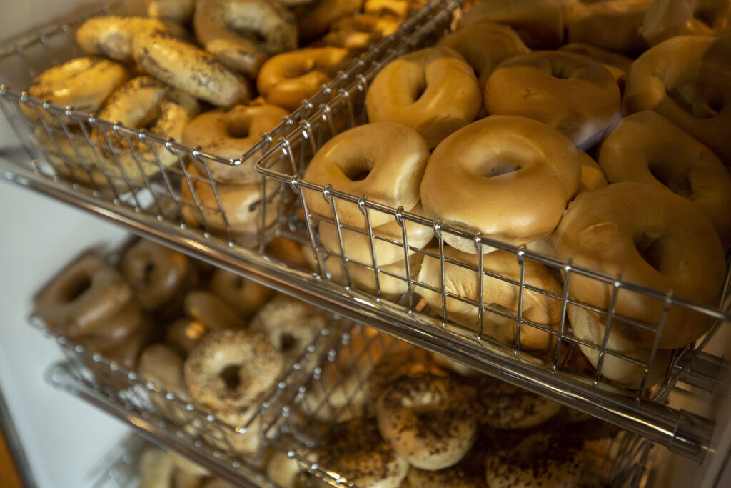 Bagels for sale at the new Zaidy's Deli and Bakery location off Leetsdale Drive in Washington Virginia Vale. Aug. 17, 2021.