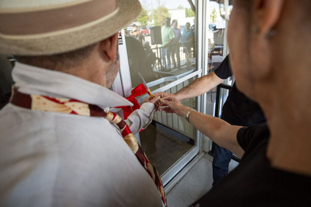 Gerard Rudofsky (left to right), Beth Ginsberg and Joel Appel cut a ribbon to open the new Zaidy's Deli and Bakery location off Leetsdale Drive in Washington Virginia Vale. Aug. 17, 2021.