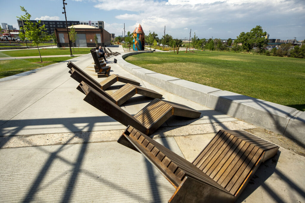 Public seating at the ArtPark Community Hub off Brighton Boulevard in RiNo. Five Points, Aug. 19, 2021.
