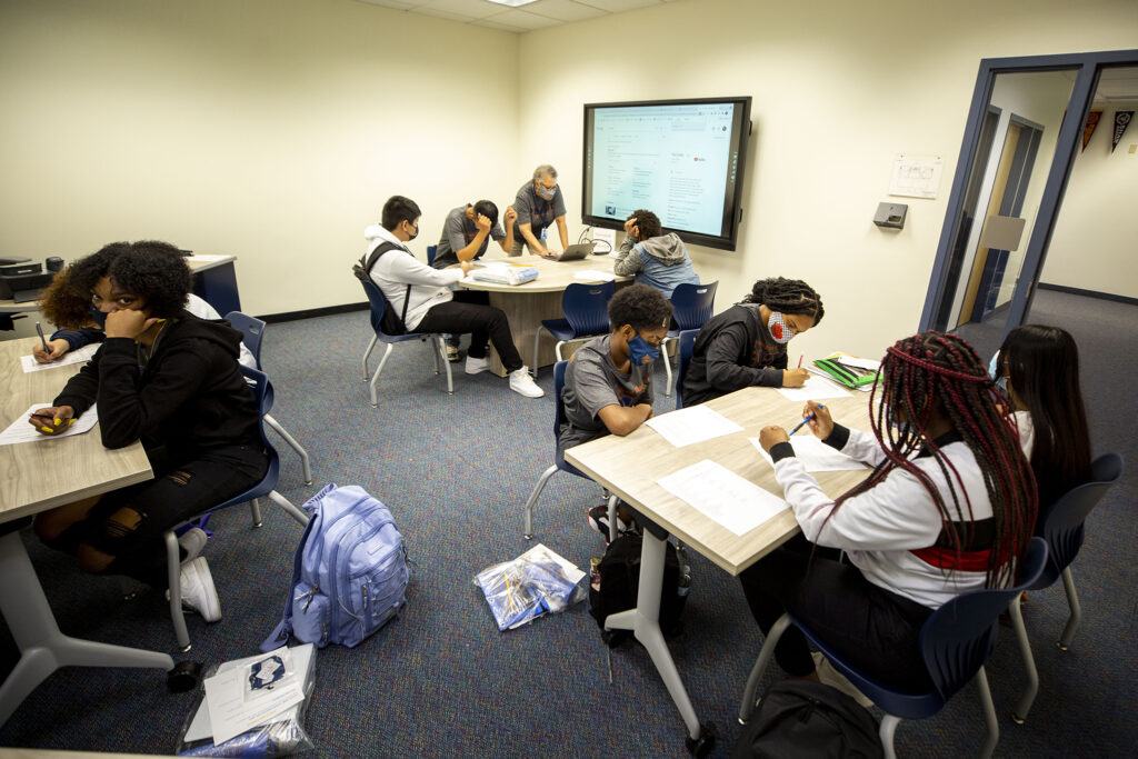"""The first day of classes in Sheila Chase's homeroom (called a """"pride"""" here) at Robert F. Smith STEAM Academy in Green Valley Ranch. Aug. 23, 2021."""