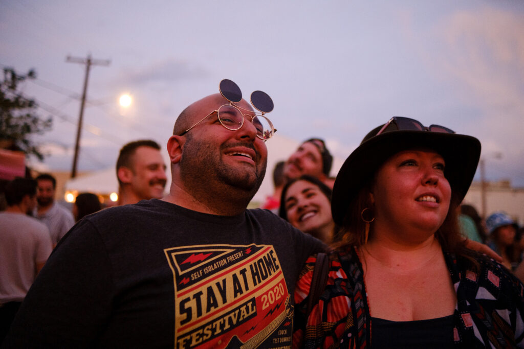 Kenny and Liz Vasko enjoy Shannon and The Clams at the Underground Music Showcase main stage in Denver on Friday, August 27, 2021.