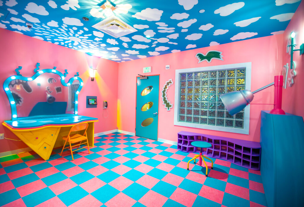 """A multidimension """"Sa-lawn"""" by artist Kyle Singer at Meow Wolf Denver."""