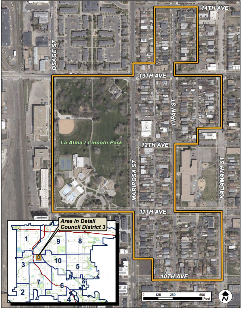 The La Alma Lincoln Park Cultural Historic District boundaries. (Courtesy of the city's Community Planning and Development office)