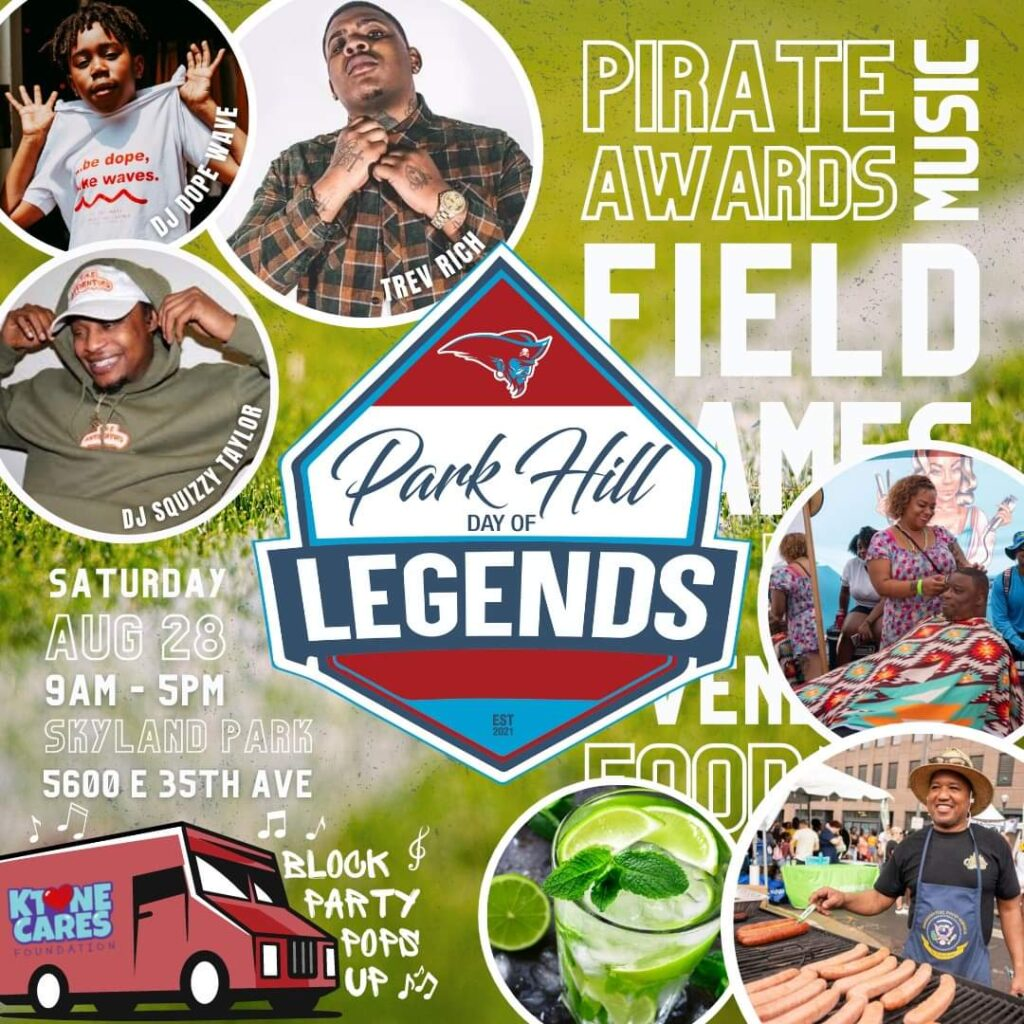 Flyer for the Park Hill Day of Legends event.