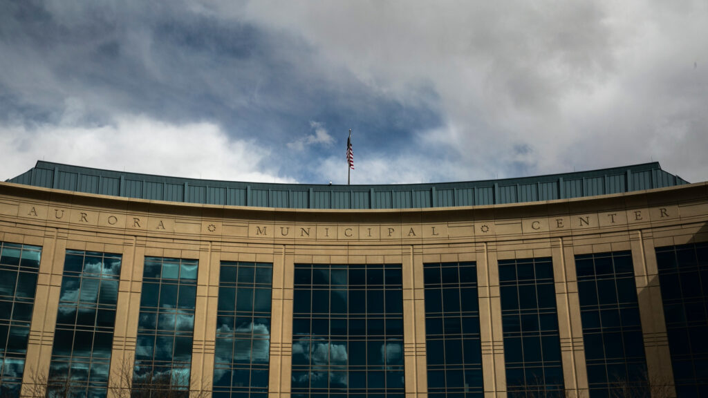 Clouds reflected in the Aurora Municipal Center on March 10, 2021.