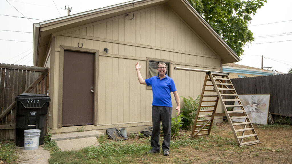 The garage that Eric Dahm is going to demolish and replace with an ADU in his Globeville backyard. Sept. 1, 2021.