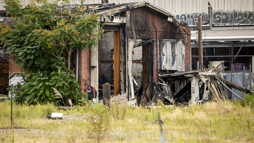 A building in Burnham Yard, a historic rail yard south of downtown Denver now owned by the Colorado Department of Transportation, burned early on Monday, Aug. 30, 2021. It was photographed here on Sept. 1.