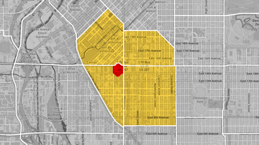 """Central Business District (clockwise from top left), North Capitol Hill (AKA """"Uptown""""), Capitol Hill and Civic Center (AKA """"Golden Triangle"""") are statistical neighborhoods that surround Civic Center Park (highlighted in red)."""