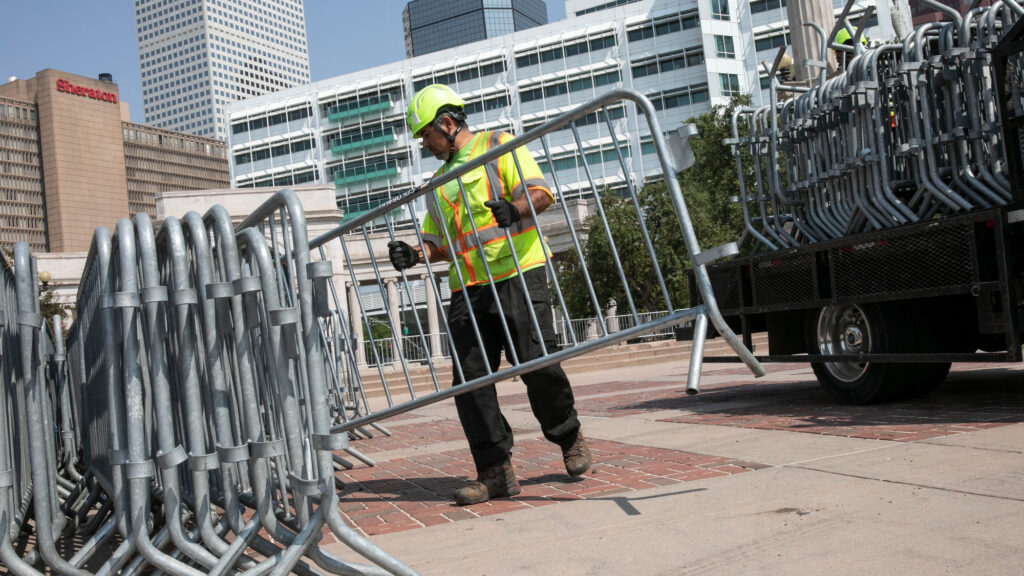 Crews unloaded barricades in Denver's Civic Center Park on Tuesday, September 7, 2021. CBS4 reports that the city intends to close the park on Wednesday for safety and sanitation reasons for at least two months. Some sections of the park were closed off Tuesday.