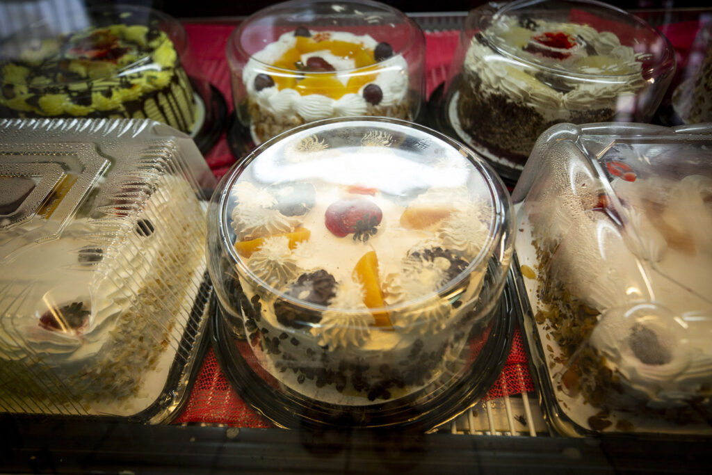 Rosio Contreras' cakes on sale at her family's market on Morrison Road. Sept. 10, 2021.