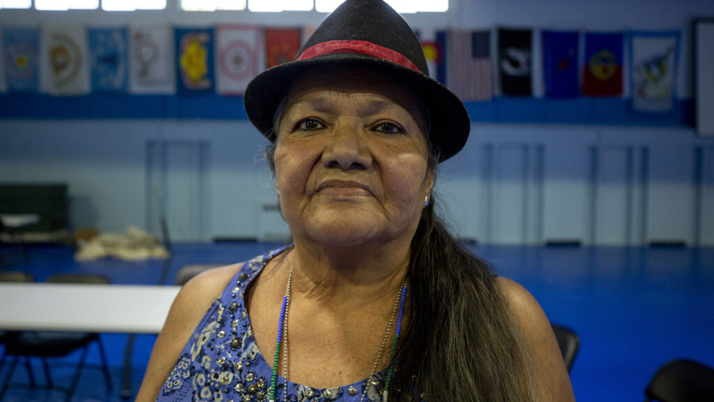 Lynn Eagle Feather attends a roundtable for survivors of Native American boarding schools at the Denver Indian Center on Morrison Road. Sept. 10, 2021.