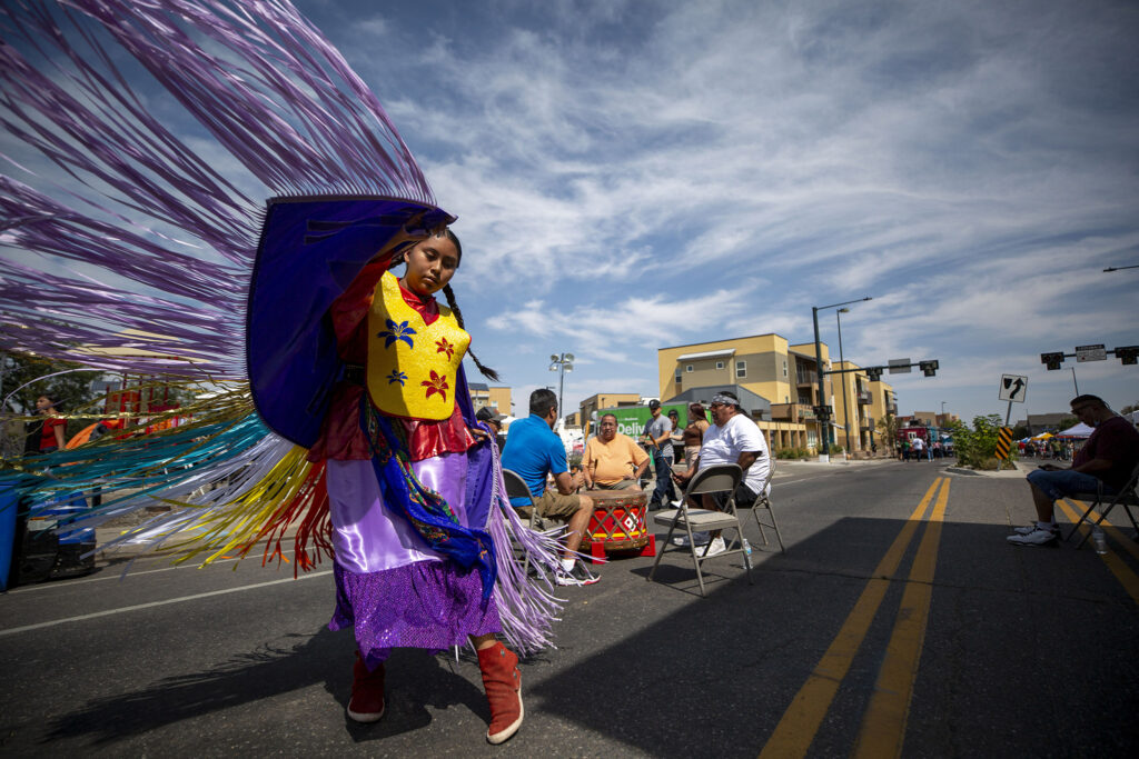 Meadow Yellow Hawk dances on Morrison Road to open the Westwood Chile Fest on Sept. 11, 2021.