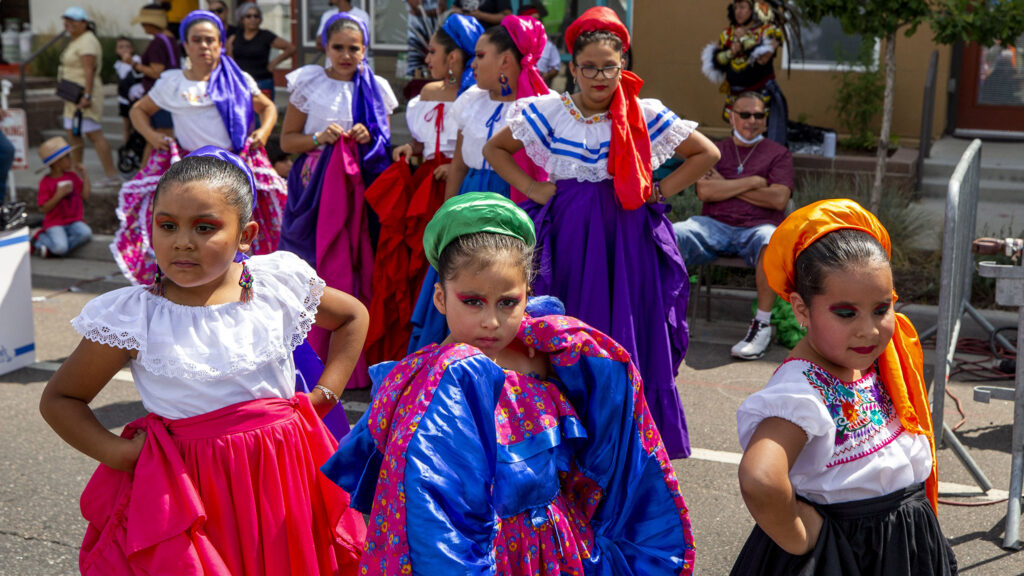 Sangre De Mexico dancers wait to perform during the Westwood Chile Fest. Sept. 11, 2021.