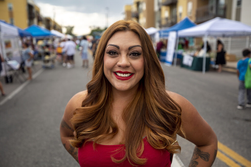 Maria Galindo attends the Westwood Chile Fest on Morrison Road. Sept. 11, 2021.