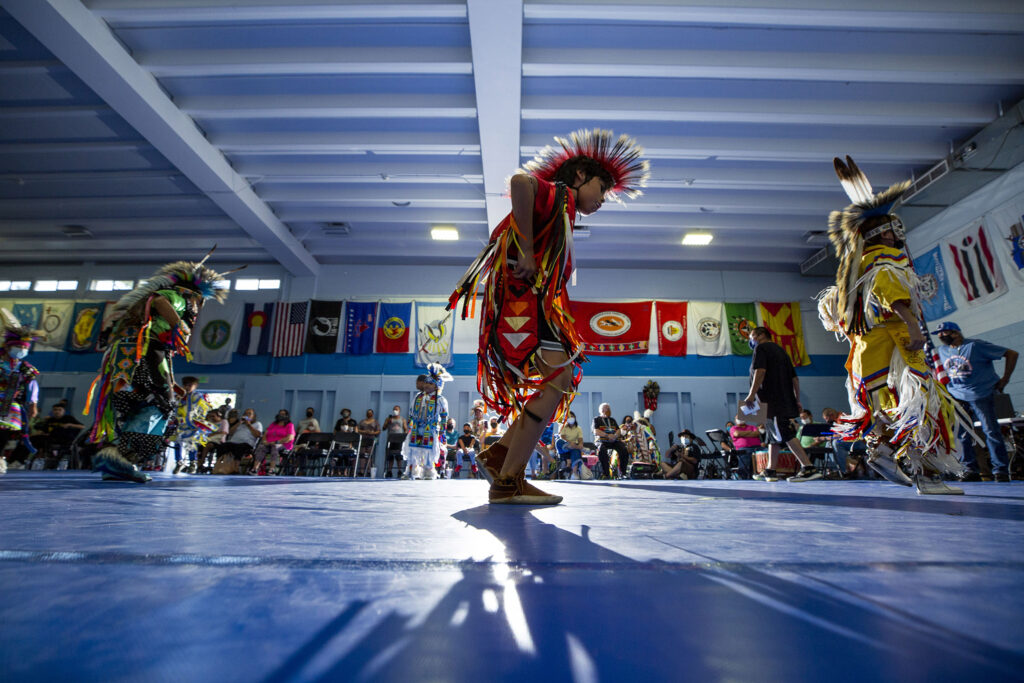 Raul (10) competes in a grass dance competition at the Denver Art Museum Friendship Powwow and American Indian Cultural Celebration at the Denver Indian Center on Morrison Road. Sept. 12, 2021.
