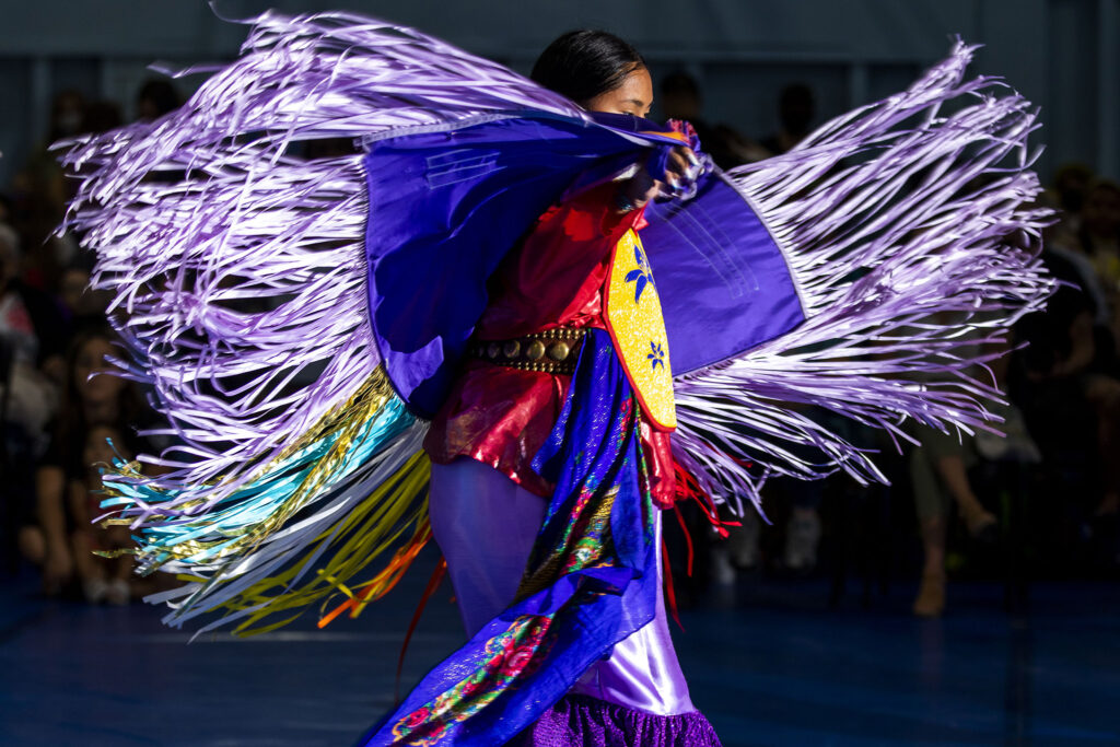 Meadow Yellow Hawk takes part in a dance competition during the Denver Art Museum Friendship Powwow and American Indian Cultural Celebration at the Denver Indian Center on Morrison Road. Sept. 12, 2021.