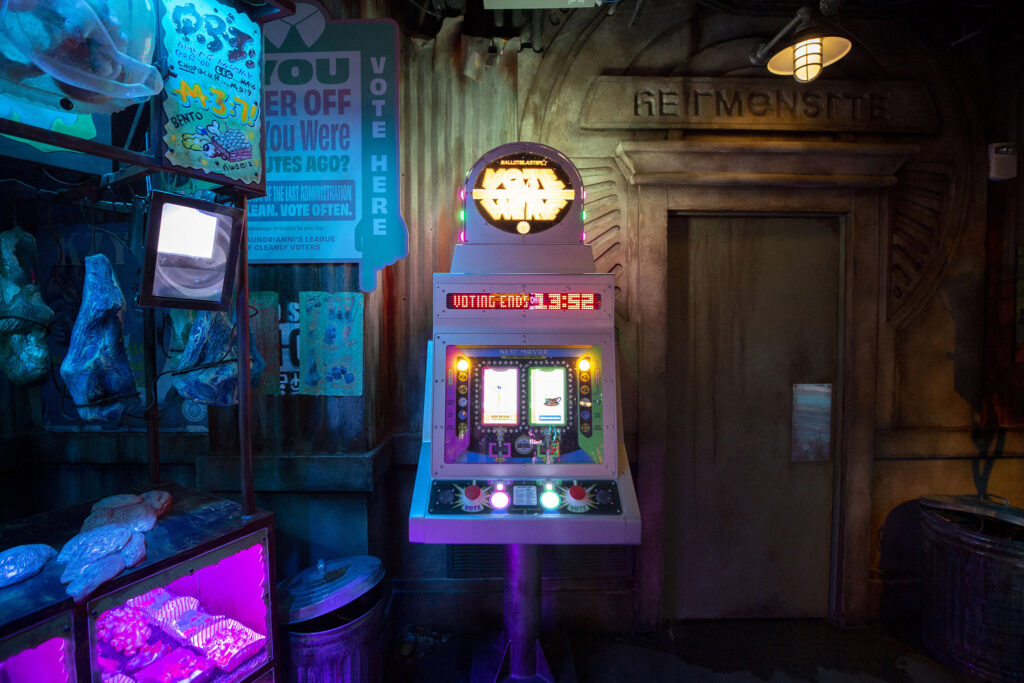 A voting machine at Meow Wolf Denver: Convergence Station. Sept. 13, 2021.