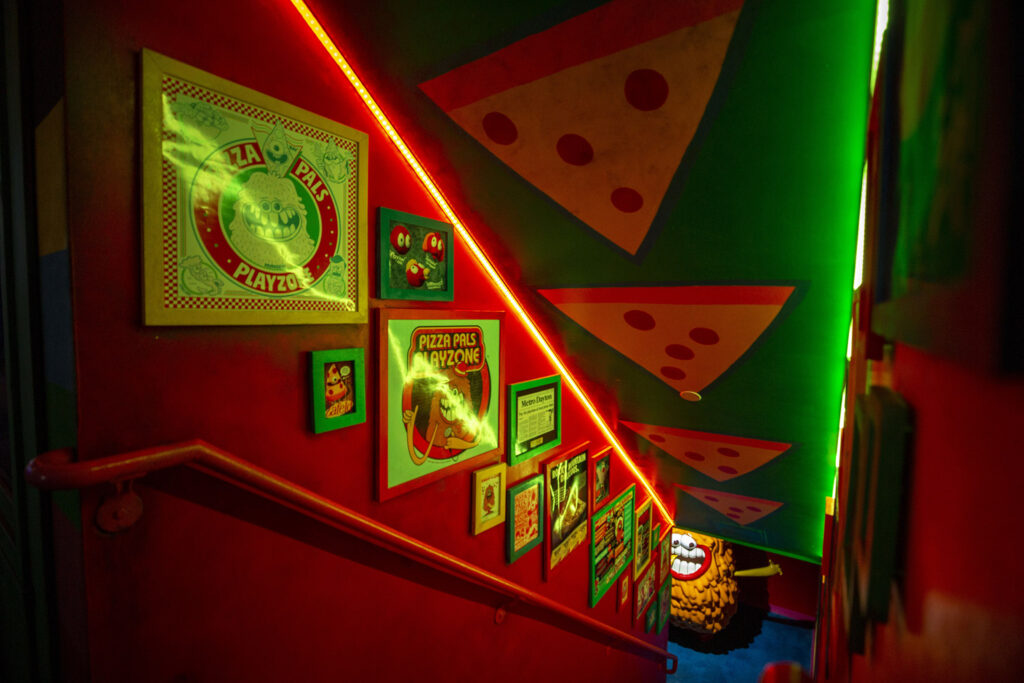The entrace to a pizza parlor at Meow Wolf Denver: Convergence Station. Sept. 13, 2021.