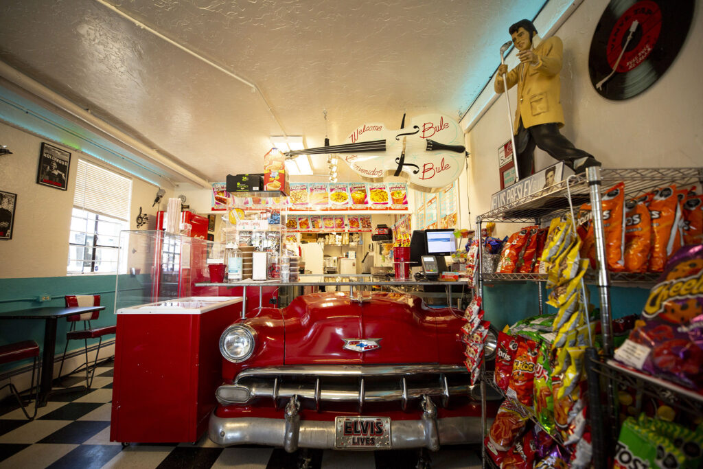 Hector Soto turned an old Chevy into a front counter for his Bule Bule neveria on Morrison Road. He used to play the bass hanging from the ceiling. Sept. 16, 2021.