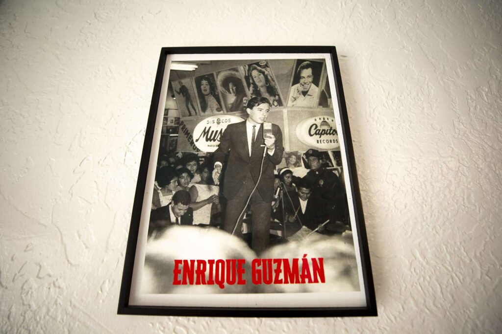 A photo of Mexican heartthrob Enrique Guzmán on the wall at Bule Bule. Morrison Road, Sept. 16, 2021.
