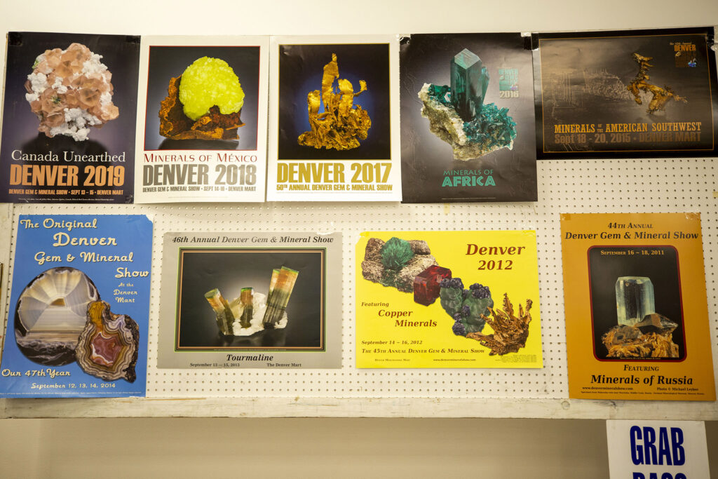 Denver Gem & Mineral Show posters from years past. Sept. 15, 2021.