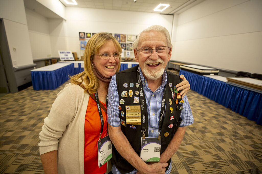 Denver Gem & Mineral Show volunteers Gloria Staebler and Larry Havens in their community space, part of the larger Hardrock Summit at the Colorado Convention Center, Sept. 15, 2021.