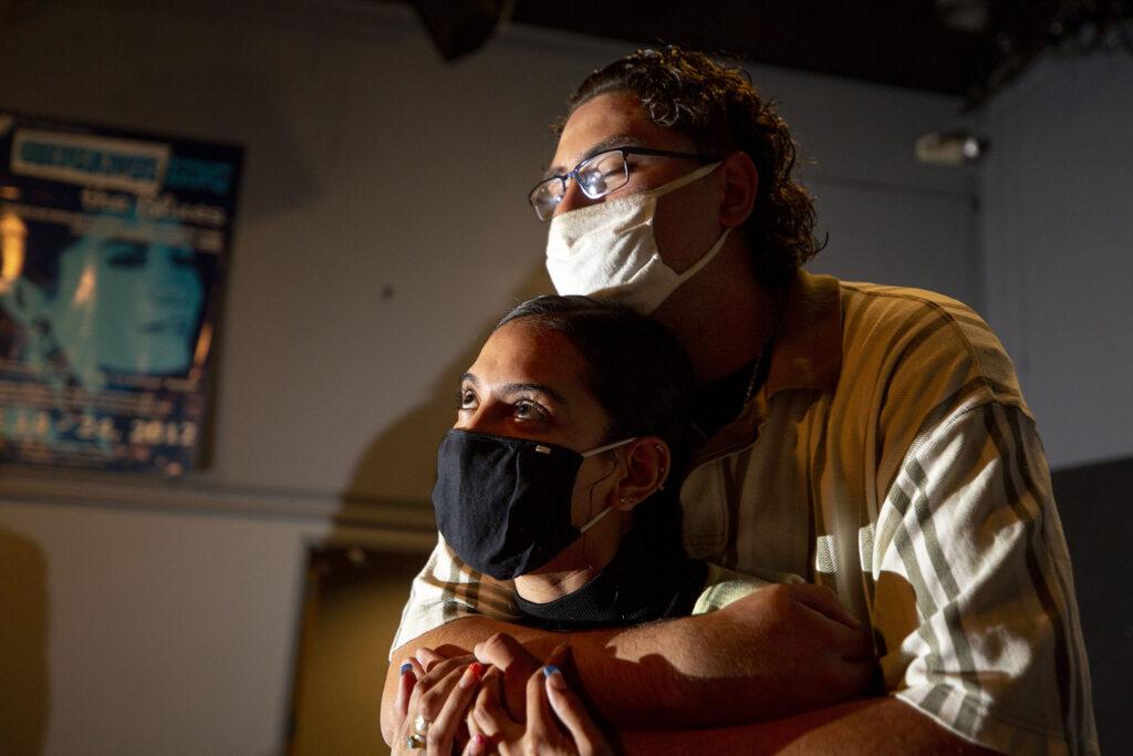 "Davie Gonzalez and Sierra Fernandez rehearse a scene from ""El Corrido del Barrio"" at Su Teatro. Sept. 15, 2021."